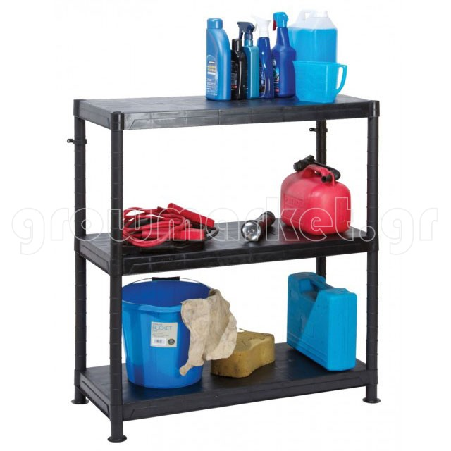 Self Assembly Plastic Shelving 3 Shelf Unit 90cm solid