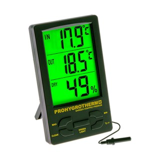 Pro Hygrothermometer Proffesional Green LED Screen